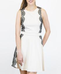 Cream & black lace trim sleeveless dress