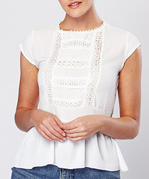 White cotton blend lace blouse