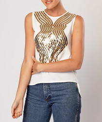White cotton blend sequin blouse