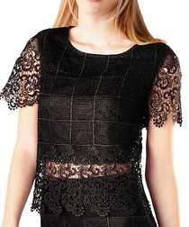 Black lace detail overlay blouse