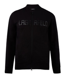 Black pure cotton slogan Sweatjacket
