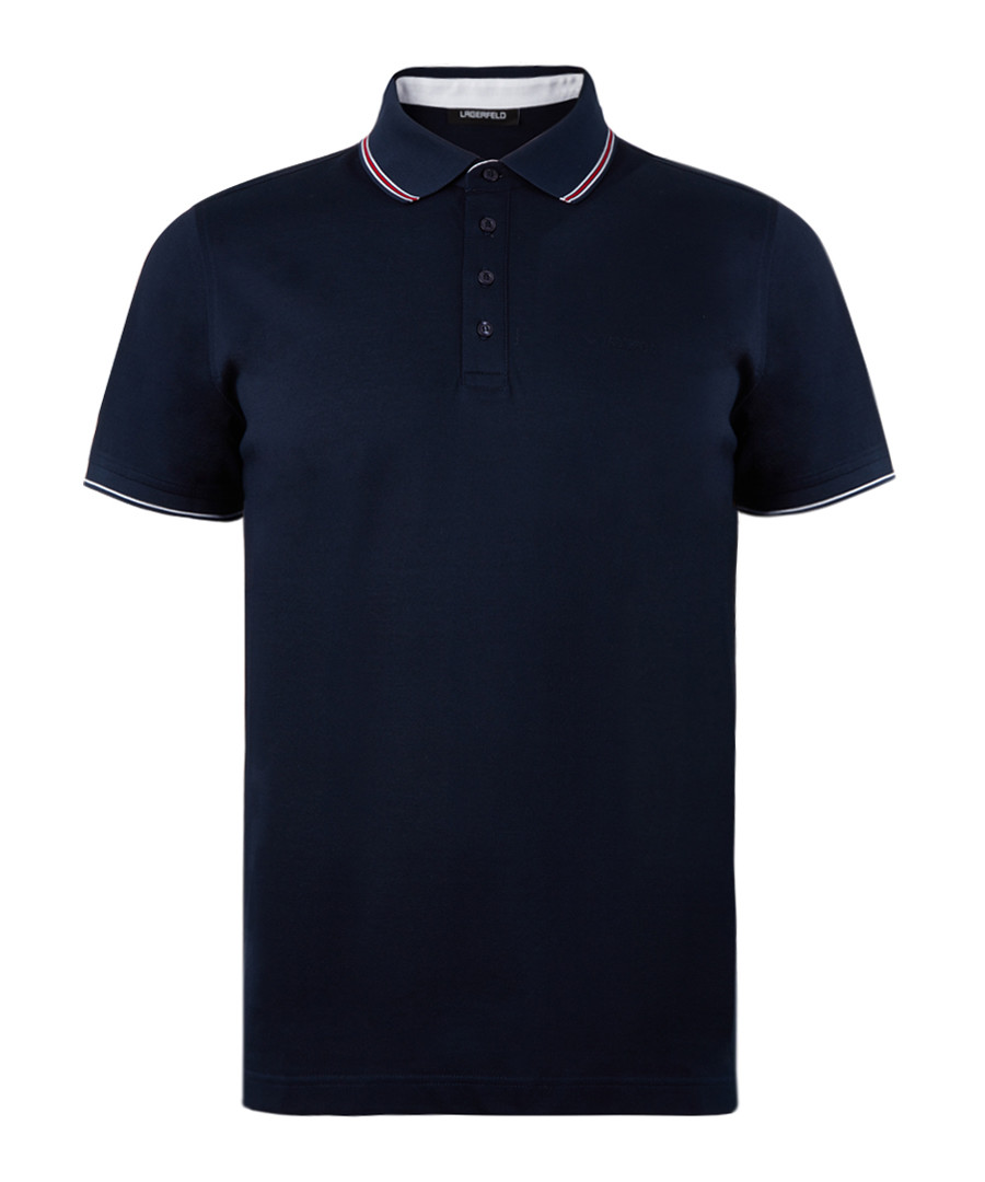 Navy blue pure cotton polo top Sale - Lagerfeld