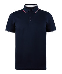 Navy blue pure cotton polo top