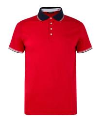 Bright red pure cotton polo top