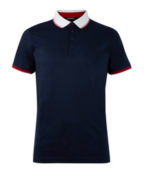 Navy blue & white pure cotton polo top