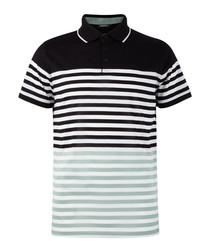 Black & white cotton stripe polo top