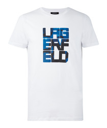 White & blue pure cotton slogan T-shirt