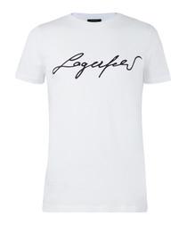 White pure cotton slogan T-shirt