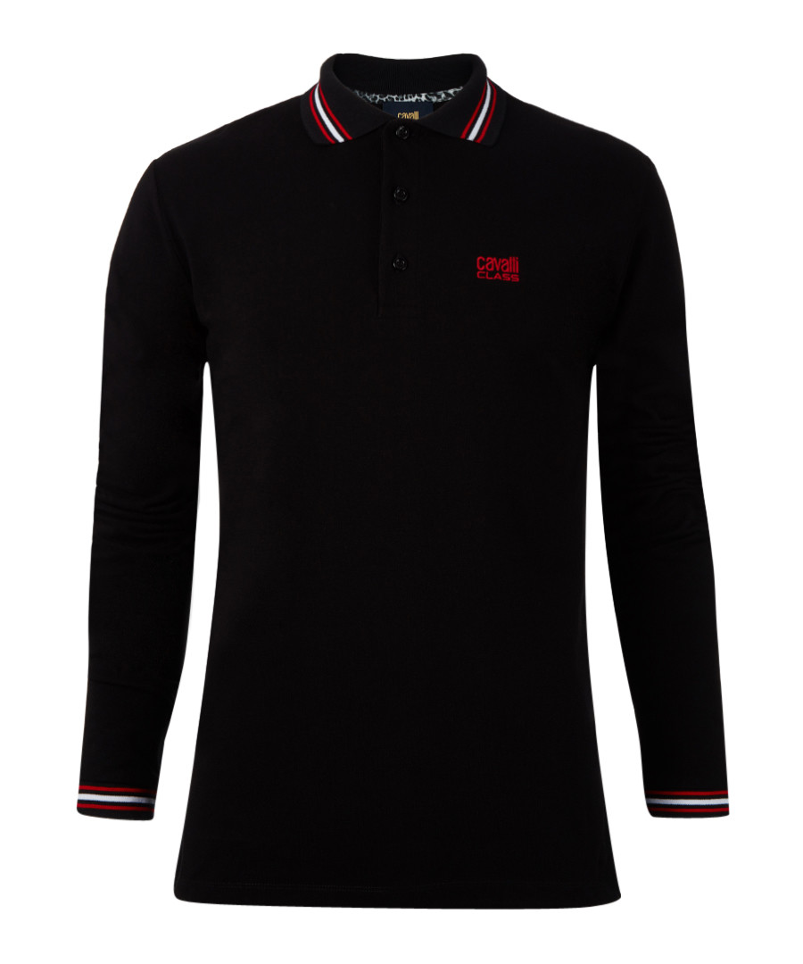 Black pure cotton long sleeve polo top Sale - Cavalli Class