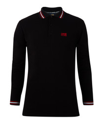 Black pure cotton long sleeve polo top