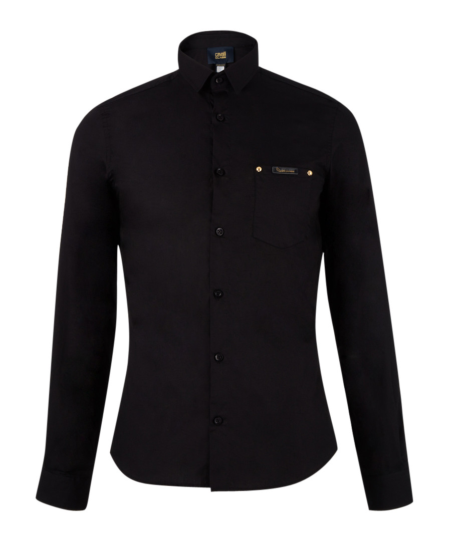 Black pure cotton long sleeve top Sale - Cavalli Class