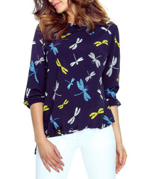 Navy dragonfly print blouse