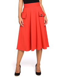 Bright red cotton blend A-line skirt