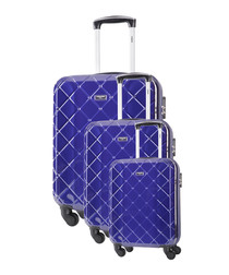3pc Dominguez blue suitcase nest