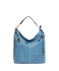 Blue leather weave-effect shoulder bag
