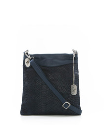 Navy leather moc-croc cross body bag