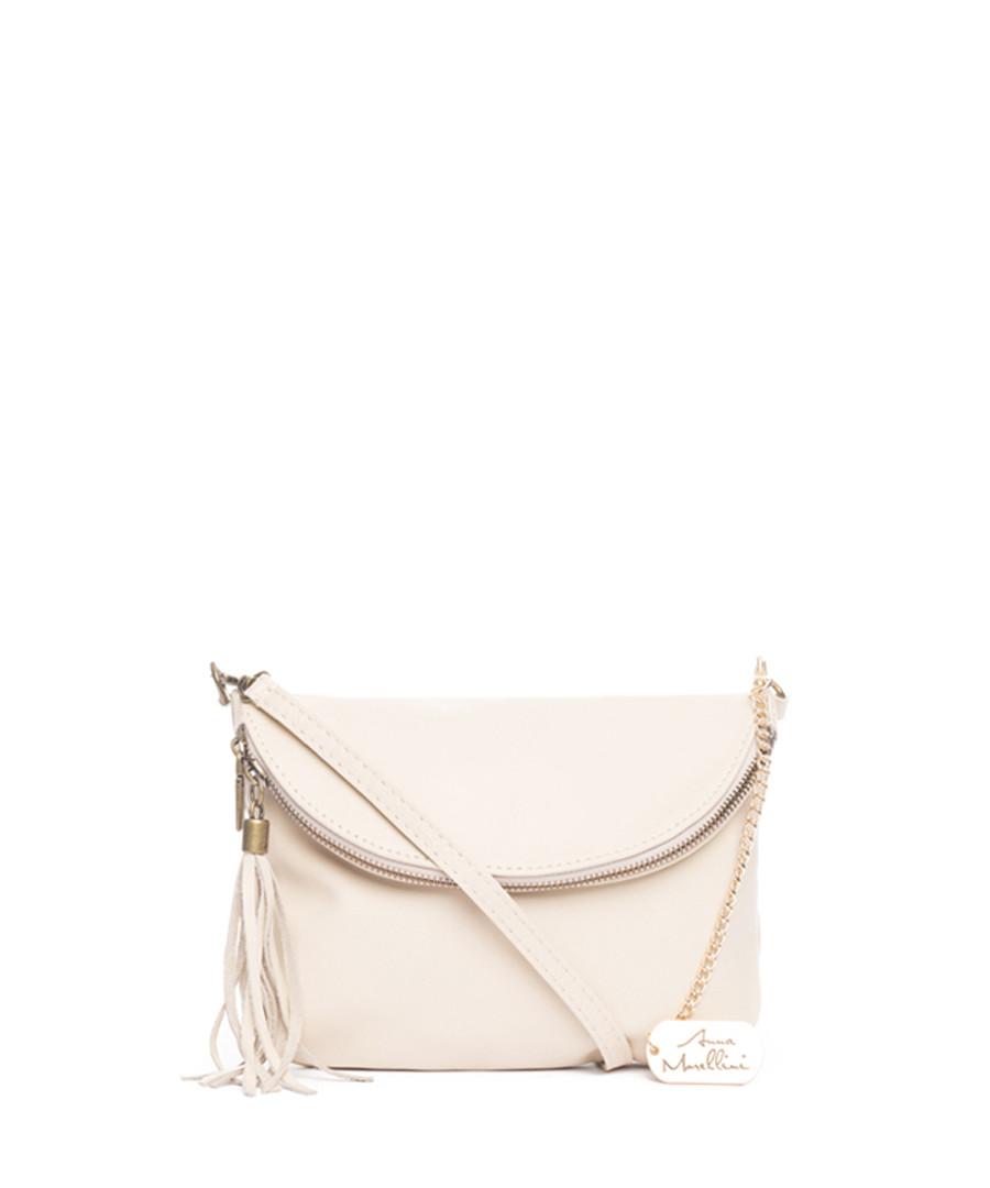 Beige leather foldover crossbody Sale - anna morellini