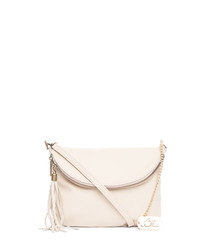 Beige leather foldover crossbody