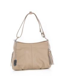 Taupe leather tassel shoulder bag