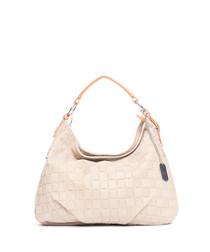 Taupe leather weave-effect shoulder bag