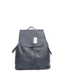 Navy leather drawstring backpack