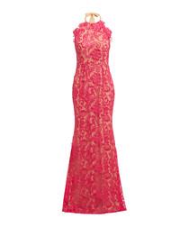 Pink floral lace halterneck maxi dress