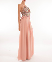 Blush sequin detail strappy maxi dress