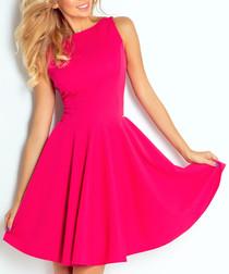 Raspberry sleeveless fit & flare dress