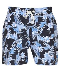 Kaelin blue tropical print trunks