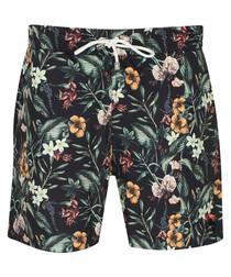Estavao black tropical print trunks