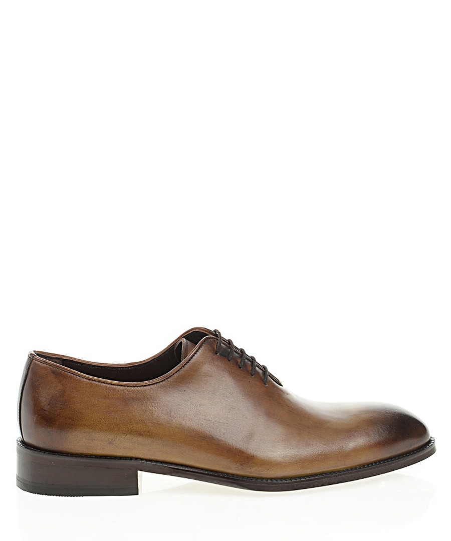 Walnut brown leather Oxford shoes Sale - Bramosia