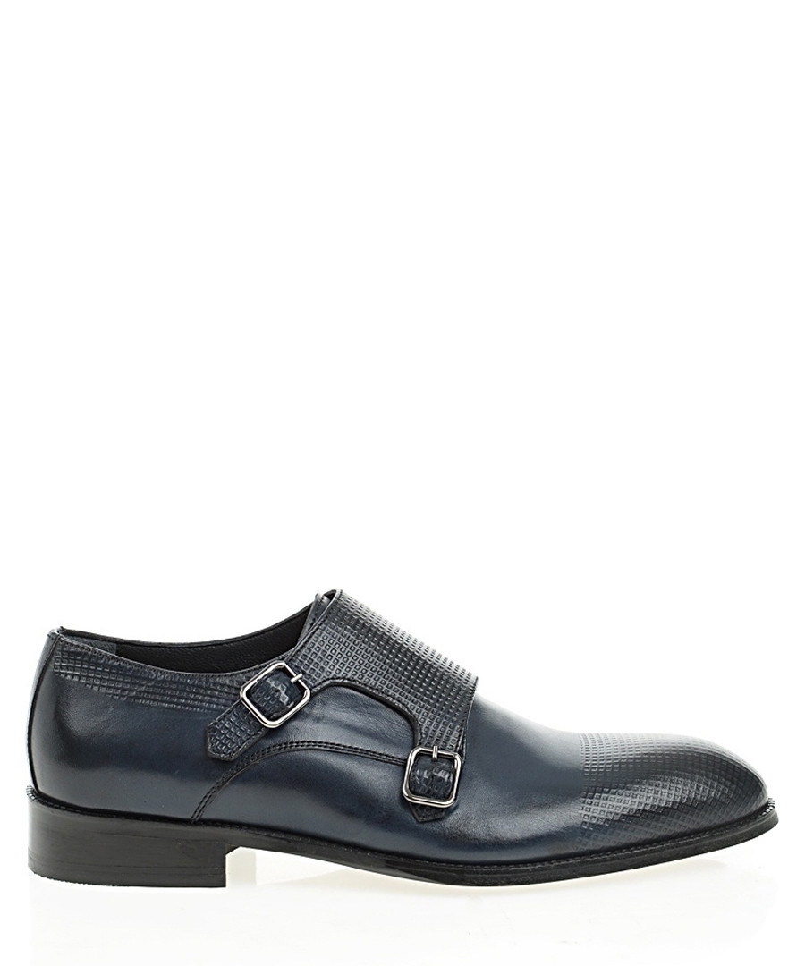 Navy blue leather monk strap shoes Sale - Bramosia