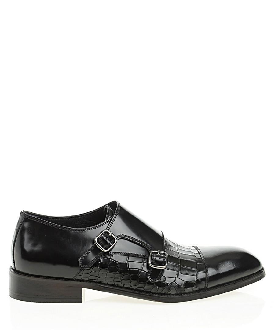 Black leather moc-croc monk strap shoes Sale - Bramosia