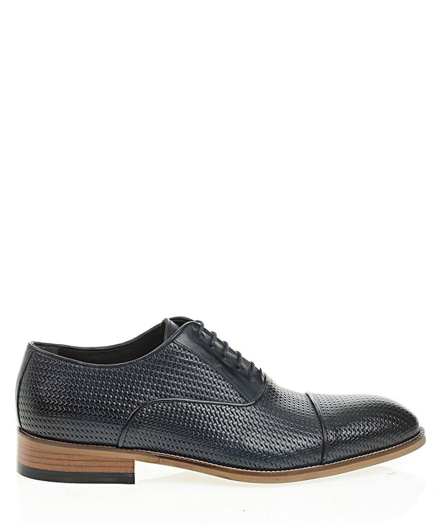 Navy blue leather textured formal shoes Sale - Bramosia