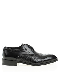 Black leather textured formal shoes