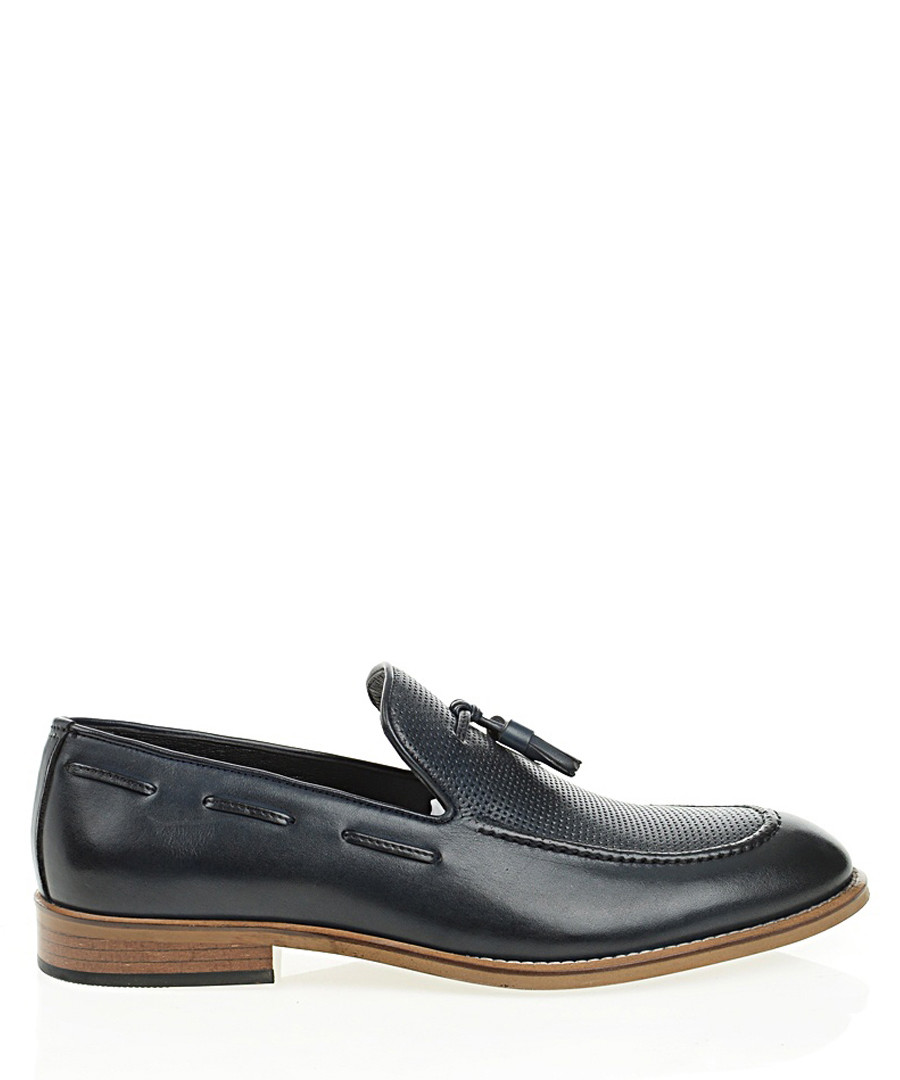 Navy blue leather loafers  Sale - Bramosia