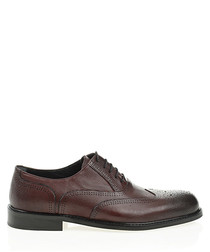 Bordeaux leather perforated formal shoes