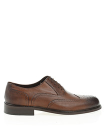 Tobacco leather perforated formal shoes
