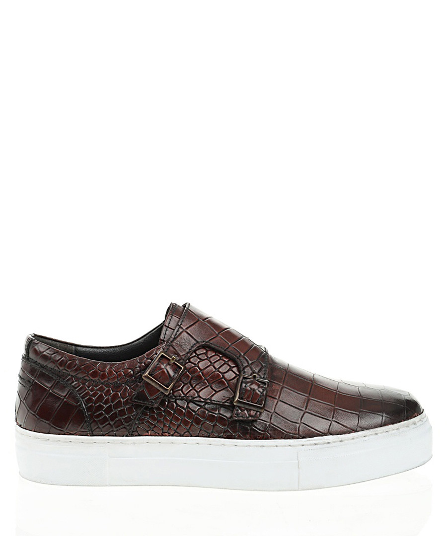 Brown leather platform slip-on shoes Sale - Bramosia