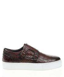 Brown leather platform slip-on shoes