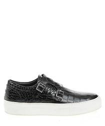 Black leather moc-croc slip-ons