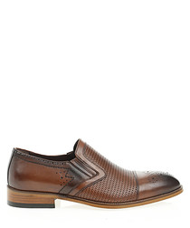 Tan brown leather slip-on shoes