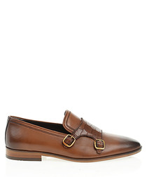 Tan brown leather monk straps
