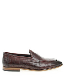 Bordeaux leather printed loafers