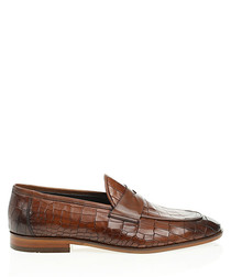 Tan brown leather printed loafers