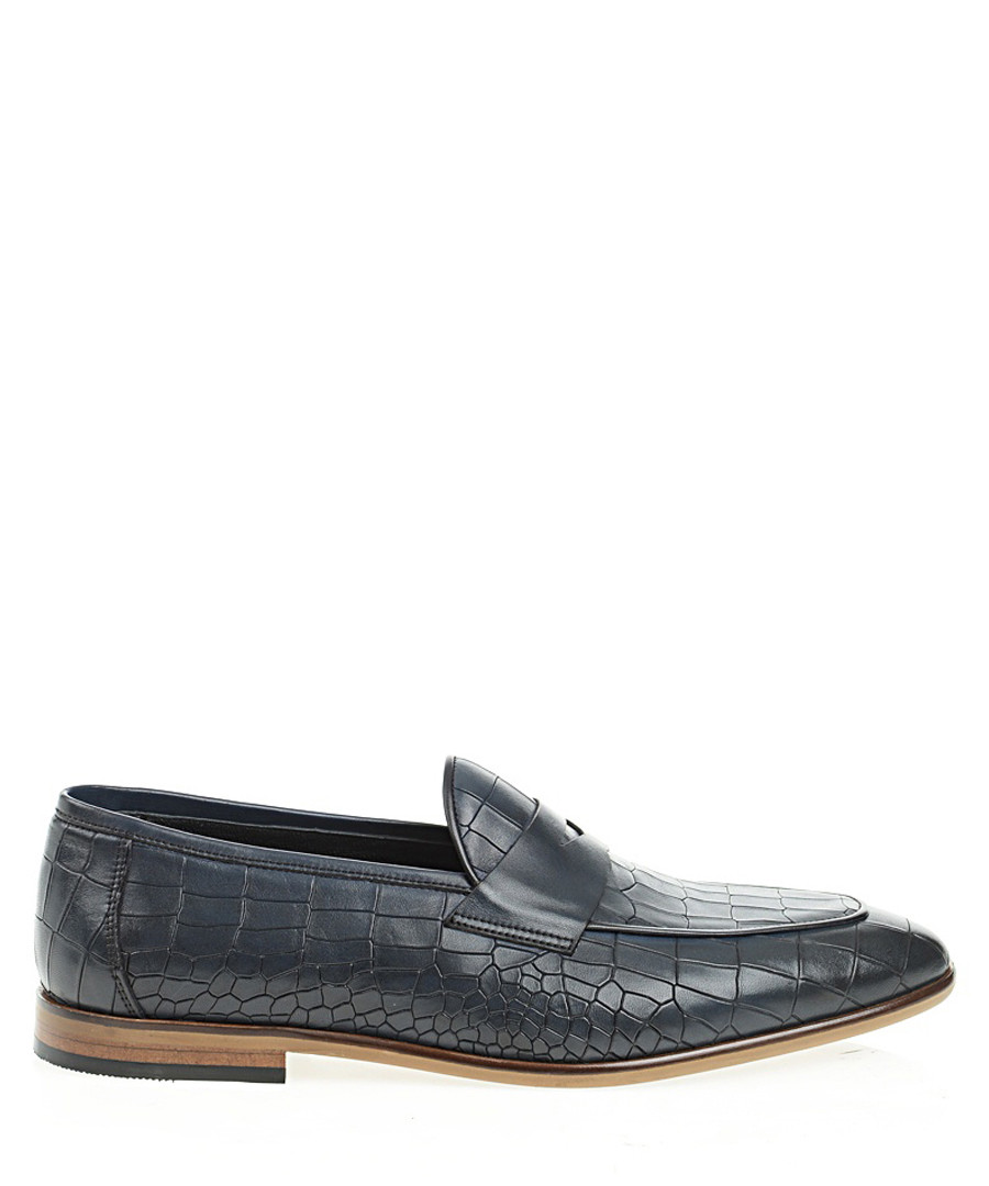 Navy blue leather printed loafers  Sale - Bramosia