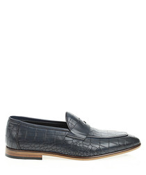 Navy blue leather printed loafers