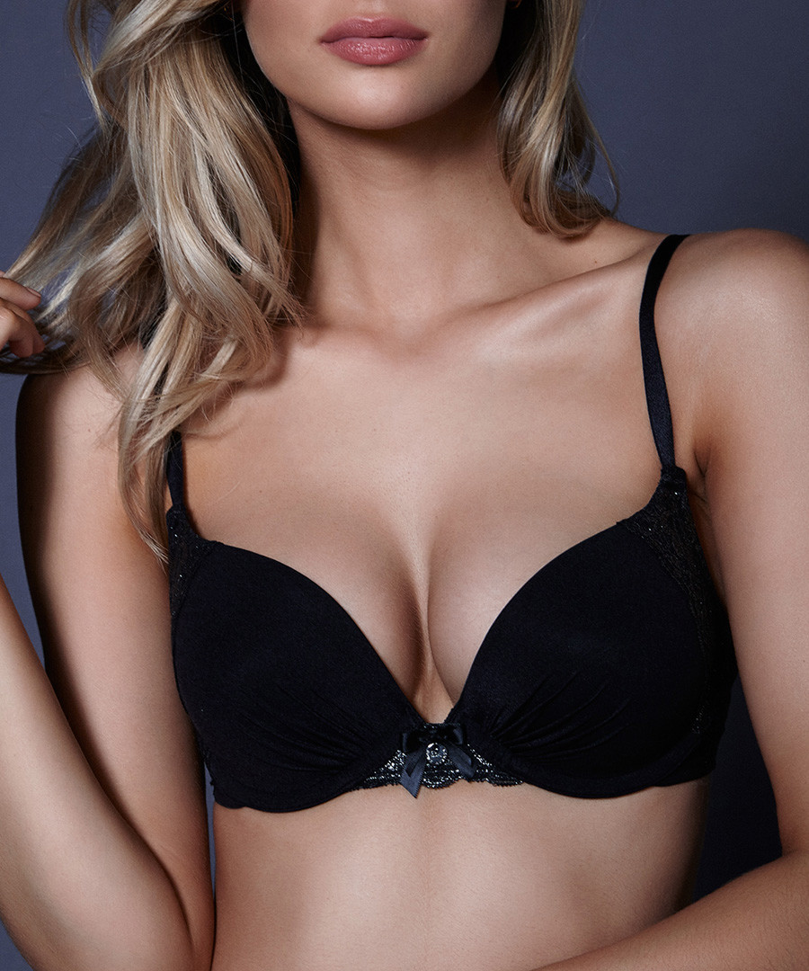 Naomi black padded plunge bra Sale - Boux Avenue