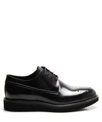 Black leather platform formal shoes