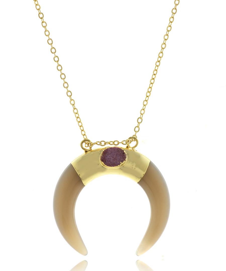Horn 14ct gold-plated & stone necklace Sale - fleur envy gaia
